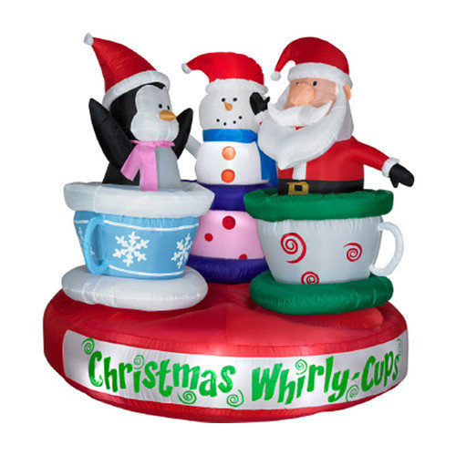 animated christmas blowups and inflatable tea cup with santa claus - Christmas Blow Ups
