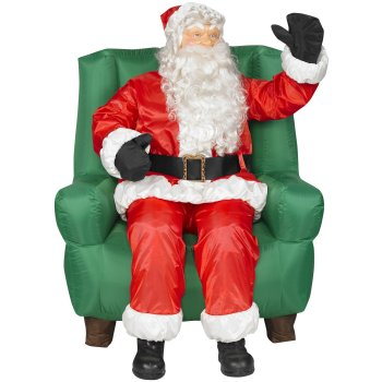 this awesome inflatable santa claus will make a great outdoor decoration its about 5 tall and features an animated santa sitting on a chair