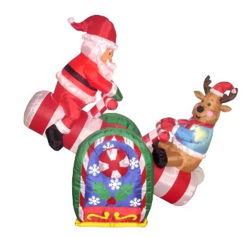 Reindeer and sleigh with presents outdoor christmas decoration stock - Christmas Blowups Holiday And Christmas Inflatables